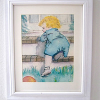 Watercolor &#x27;Little Boy Blue&#x27; Baby Child Nursery by JanetLongArts