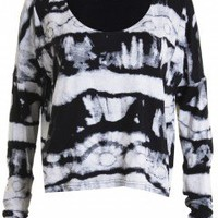 LOVE Black And White Tie Dye Print Top - Love