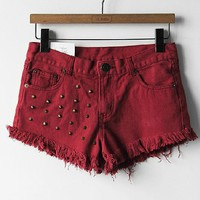 Stereo punk rivet hole in the small tassel shorts hot pants