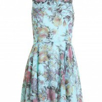 LOVE Aqua Alice Floral Print Woven Sleeveless Smart Dress - Love