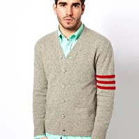 Gant Rugger Cardigan with Varsity Stripe Sleeve at asos.com