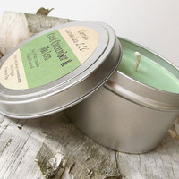 Cool Cucumber and Melon scented Soy Candle -- 8 ounce Tin