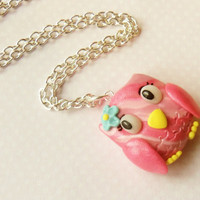 polymer clay pink owl necklace