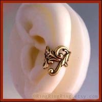 Empire ear cuff earring Antiqued gold brass LEFT by RingRingRing