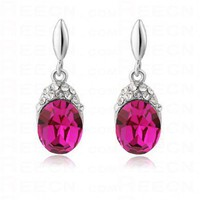 Pink and purple Swarovski Crystal With Diamond Oval Dangle Earrings - Swarovski Earrings - Earrings - Jewelry