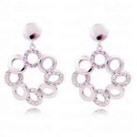 Gilded White Gold Circle With Diamond Dangle Earrings - Dangle Earrings - Earrings - Jewelry