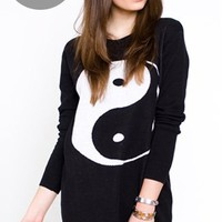 Yin Yang Sweater Dress- Mad Love Clothing- $68