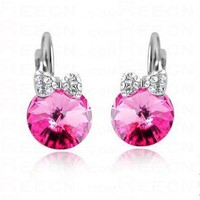 Swarovski Crystal Rose Red Round with Bow Gemstone Dangle Earrings - Swarovski Earrings - Earrings - Jewelry