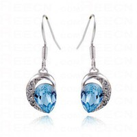 Swarovski Crystal Heart Sterling silver Dangle Earrings - Swarovski Earrings - Earrings - Jewelry