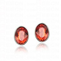 Red Oval Swarovski Crystal Stud Earrings - Swarovski Earrings - Earrings - Jewelry
