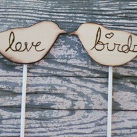 Love Bird Wedding Cake Topper Rustic Decor (item E10002)