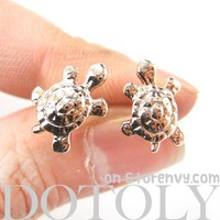 Cute Turtle Tortoise Sea Animal Stud Earrings in Light Gold