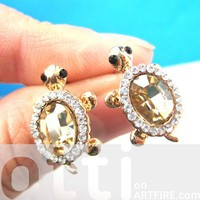Small Turtle Tortoise Sea Animal Stud Earrings with Dark Rhinestones