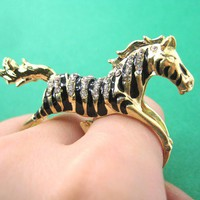 animalcharms | Zebra Horse Animal Double Duo Finger Ring in Gold Size 7 |  Affordable Animal Charms and Necklaces