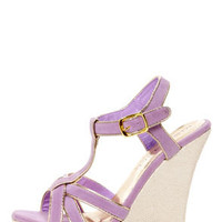 Valera 14 Lavender and Gold T-Strap Platform Wedge Sandals