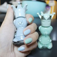 Sky Blue Color Lovely Bear and Crown Bottle Design Nail Polish