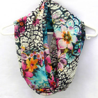 Flowers Circle Scarf. Floral Infinity Scarf. Women Accessories. Loop Scarf, Tube Scarf