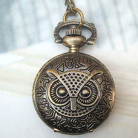 Retro Copper Owl Head Big Eyes Pocket Watch Necklace Vintage Style - Animal