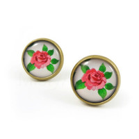 Rose Earring Studs - Floral Jewelry - Pink Rose Earring Posts - Pink Rose Green Flowers - Rose Jewelry