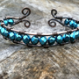 Wire Wrapped Copper Cuff, Blue Swarovski Crystal, Mother's Day Gift