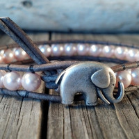 Mother&#x27;s Day Bracelet, Pink Swarovski Pearl Bracelet, Good Luck Elephant, Beaded Leather Wrap, Shabby Chic, Mothers Day Gift