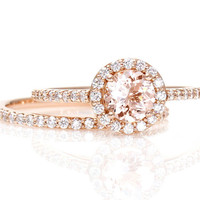 Morganite Engagement Ring White Sapphire Halo Wedding Set Rose Gold Custom Bridal Jewelry