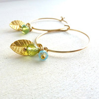 Gold Filled Hoop Earrings Gemstone Jewelry Leaf Charm Peridot Apatite