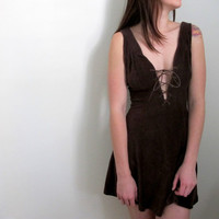 Vintage Brown Mini Corduroy Dress Renaissance Low Bust Short Summer