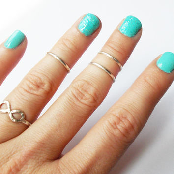 Set of Three Sterling Silver Knuckle Rings - Stackable  #knucklerings #abovetheknuckle