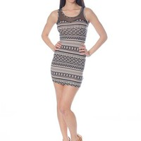 Diagonal Lines Mesh Top Dress - Black & White from Casual & Day at Lucky 21 Lucky 21