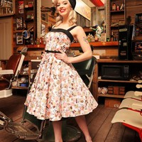 Netti Dress in Squirrel Print Sateen | Pinup Girl Clothing