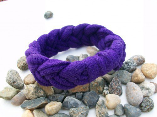 Purple T Shirt Jersey Stretch Bracelet One Size Fits All | JabberJewels - Jewelry on ArtFire
