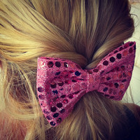 BIG Sparkling pink hair bow (S-N-008)