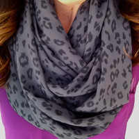 Grey Animal Print Infinity Scarf