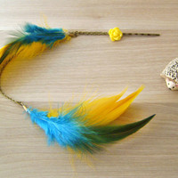 Feather hair Extension Feather Hair clip Yellow by KandyDisenos
