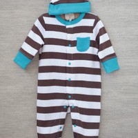 casual baby striped footie in brown at ShopRuche.com