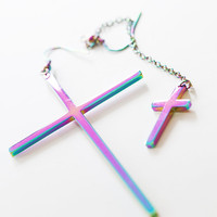 Rainbow cross earrings