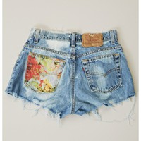 The Laundry Room Watercolor Floral Cutoff Shorts