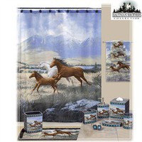 Kids Shower Curtains  | Kids Fabric Shower Curtains - Running Free Horse Theme Fabric Shower Curtain With Bath Accessories By The Hautman Brother Clearance Sale