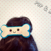 Cute kawaii hairclip / Unique felt bone hair barrette / Cream & blue statement jewellery / Adorable kitsch accessory by Pop and Moo.