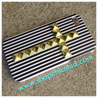 Studded iPhone 4/4s Case - Black and White Stripe - Hard Case - Gold, Black or Silver Studs - Cross Design