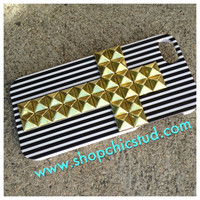 Studded iPhone 5 Case -  Black and White Stripe - Hard Case -   Gold, Black or Silver  Studs - Cross Design