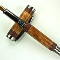 Handcrafted Wooden Pen Hand Turned Fountain Pen Maple Burl and Purple Heart with Aluminum accents Black Titanium Hardware 431FPA