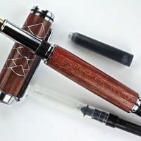 Handcrafted Wooden Pen Hand Turned Fountain Pen Purple Heart Aluminum Scallop accents Chrome Hardware 429FPA