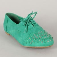 Cambridge-34 Studded Lace Up Oxford Flat
