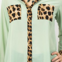 Mint Long Sleeve Button Up Top with Leopard Print Detail