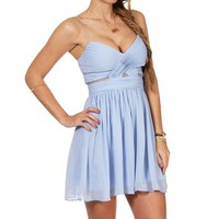 Elly-Short Dusty Blue Mesh Prom Dress