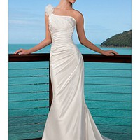 [166.43] Elegant Satin One Shoulder   Wedding Dress For Your Beach Wedding - Dressilyme.com