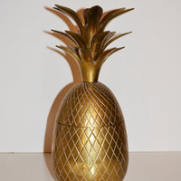 Vintage Brass Pineapple Hollywood Regency Brass Pineapple Ice Bucket Candle Holder