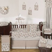 Modern Animal Giraffe Print Neutral Baby Boy Girl Unisex Bedding 9 pc Crib Set by JoJO Designs